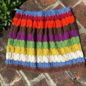 Judith March festival rainbow crocheted skirt sz S